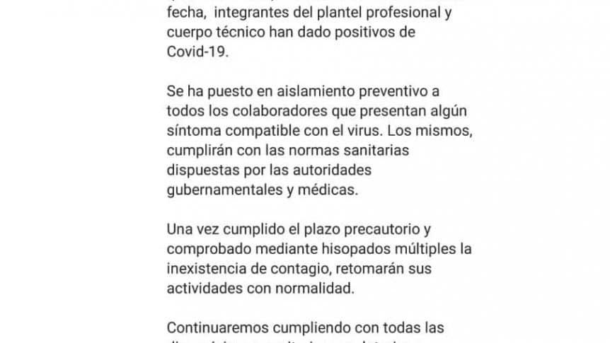 Tigre comunicado coronavirus